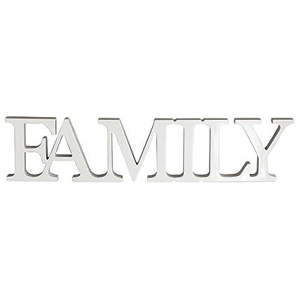 Rebecca Mobili Scritta Moderna Family, Targhetta Decorativa, Legno MDF,  Bianco, Cucina Ingresso Camera - Misure 8 x 36,5 x 1,5 cm (HxLxP) - Art. ...