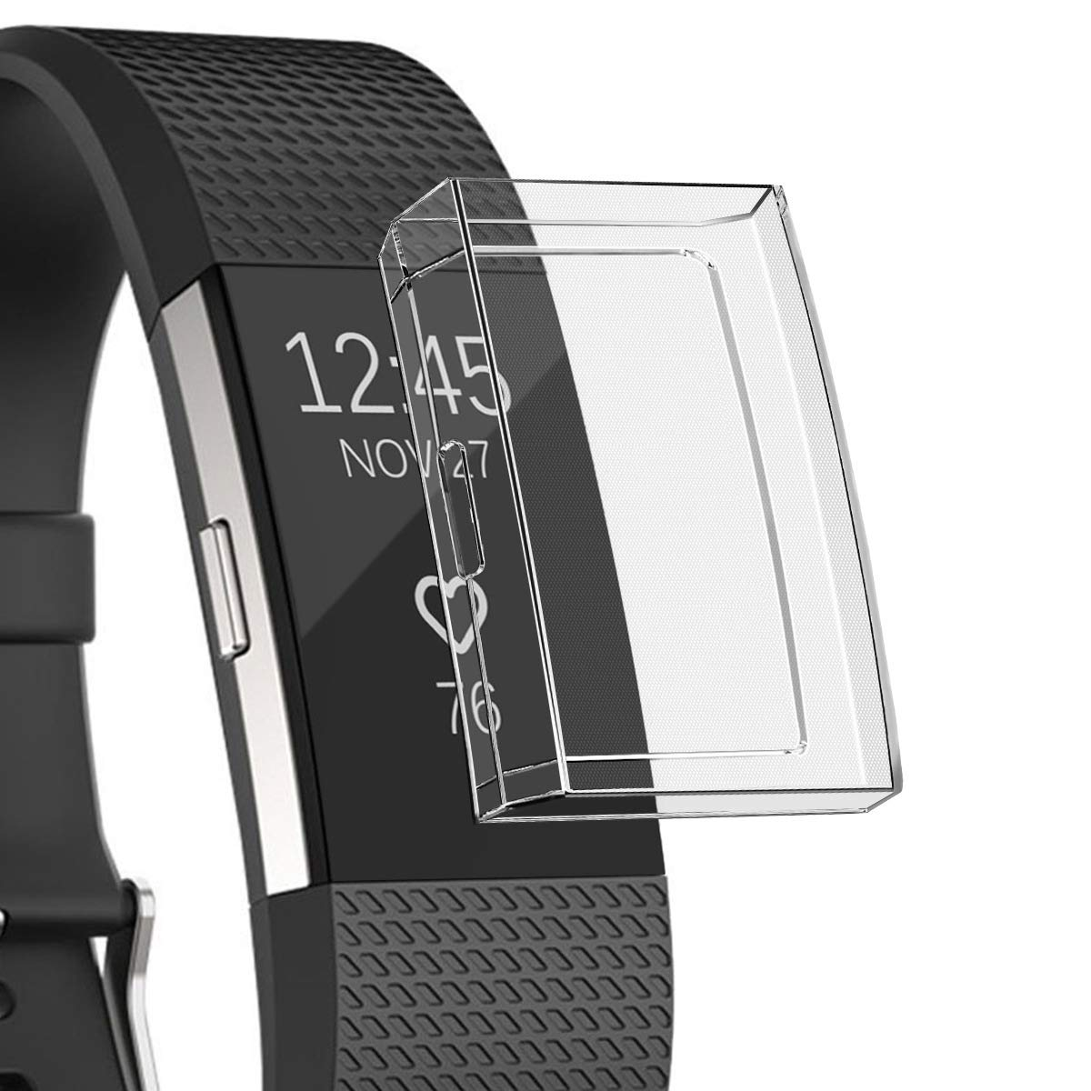 Screen Protector for Fitbit Charge 2 Case, Ultra Slim Soft Full Cover TPU Protective Casing Scratch Proof Transparent Frame Shell Accessories for Fitbit Charge 2 Watch (Transparent)