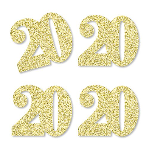 Gold Glitter 20 - No-Mess Real Gold Glitter Cut-Out Numbers - 20th Birthday Party Confetti - Set of 24 by Big Dot of Happiness