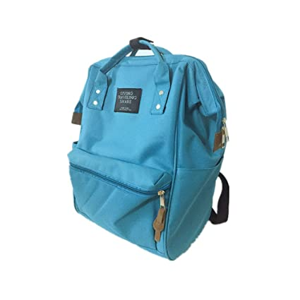 9b698e361 Amoji Classic Backpack Canvas Tote with Steel Rim for Travel Outdoor Bag  Rucksack (Blue)