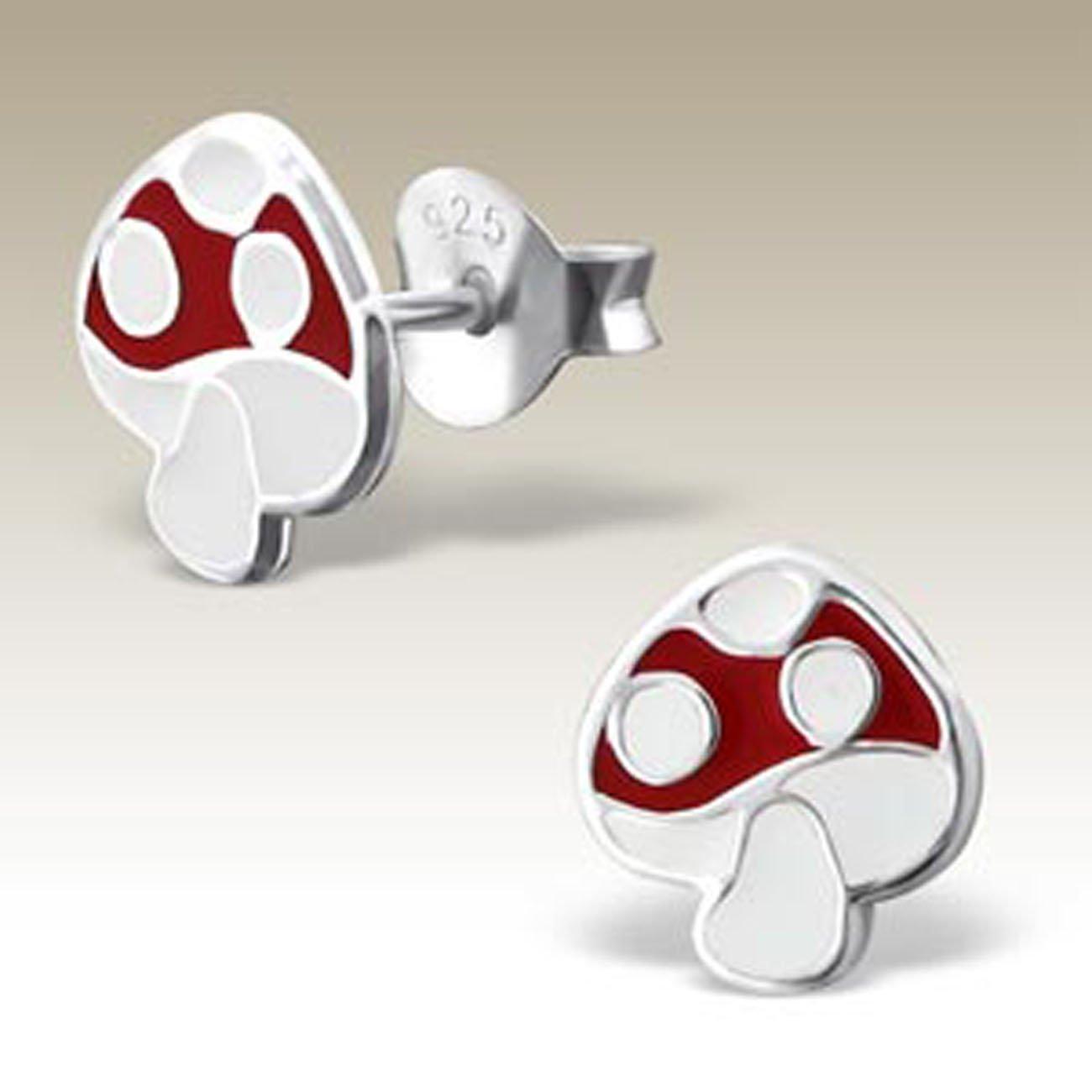 Kids Earrings Mushroom Ear Studs Stering Silver, E17262 Girls Earring Children Silver Earrings
