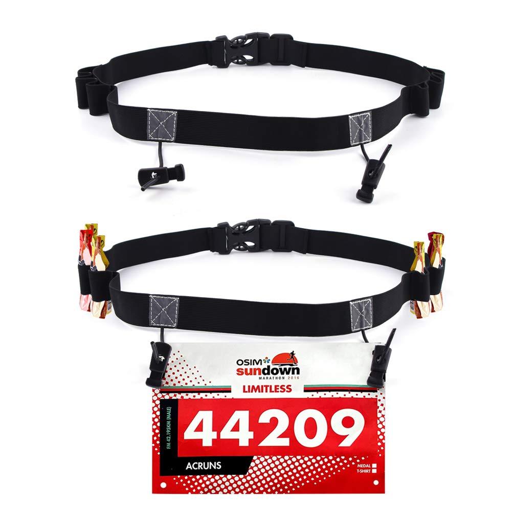Podinor Race Number Belt, BIB Waist Hip Card Holders Running Number Belt for Triathlon, Marathon, with 6 Gel Loops to Attach Energy Gel Pack of 2