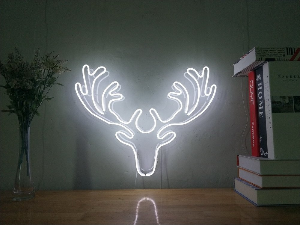 Deer Real Glass Neon Sign For Bedroom Garage Bar Man Cave Room Home Decor Handmade Artwork Visual Art Dimmable Wall Lighting Includes Dimmer