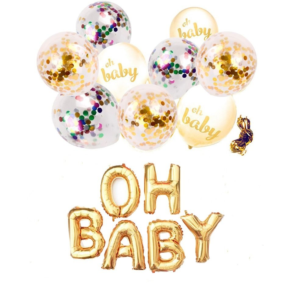 """Purejoy Premium Gender Reveal Party Supplies Kit - Boy or Girl Baby Shower Decorations 16"""" Letter Balloon & 9 pcs White Gold Confetti Balloons for Birthday Decorations and Pregnancy Announcement"""