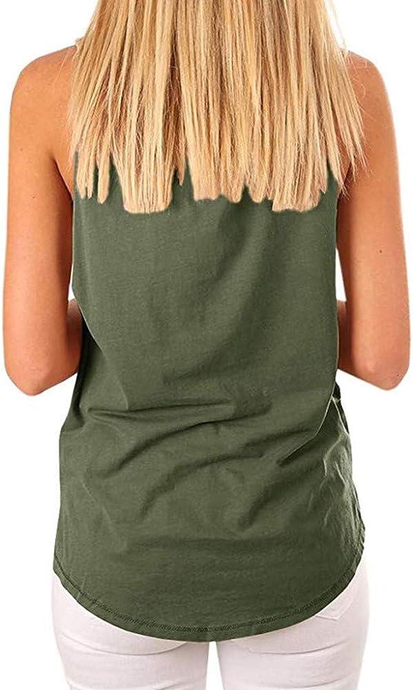 Chaleco de Mujer Camiseta Sin Mangas con Bolsillo Estampado de ...