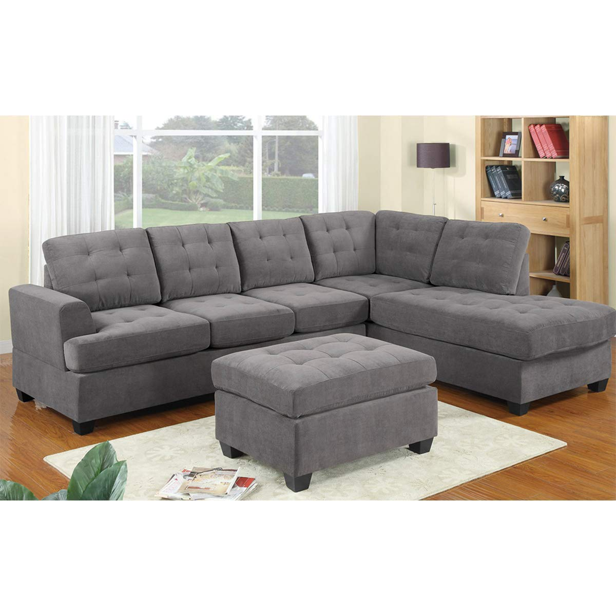Amazon.com: Hooseng 3-Piece Sectional Sofa Sets Couch with ...