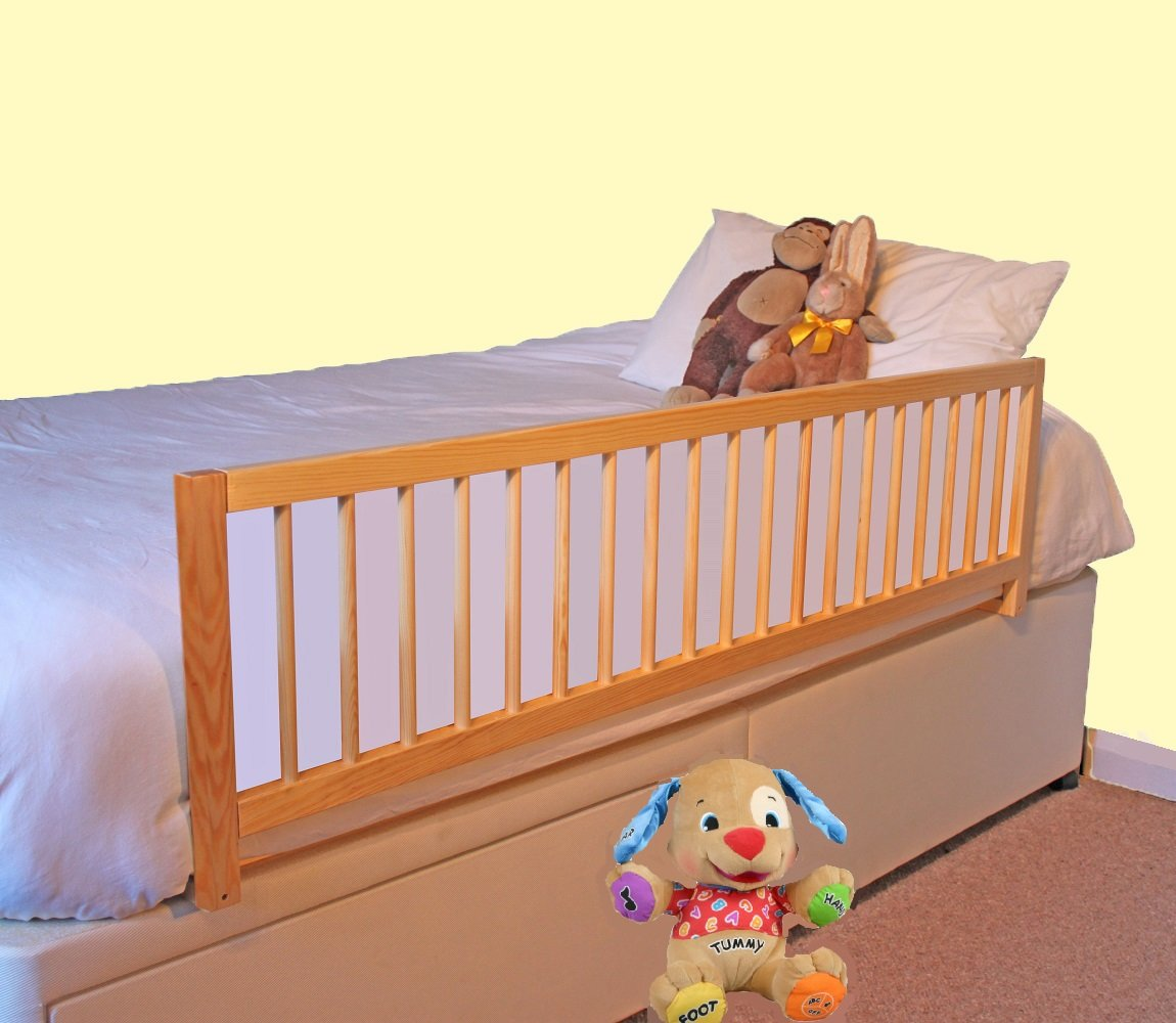 Safetots Extra Wide Wooden Bed Rail Natural Amazoncouk Baby