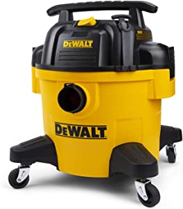 DeWALT Wet Dry Vacuum, 6 Gallon 4HP Poly Shop Vacuum, Long Life Cycle with Cartridge Filter, 4 Casters, 3 in 1 Function