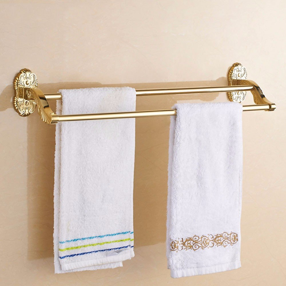 LHbox Tap Kupfer Bad Haken Gold Double Bar Badezimmer Handtuchhalter Regal Handtuch Hebel, 61 cm