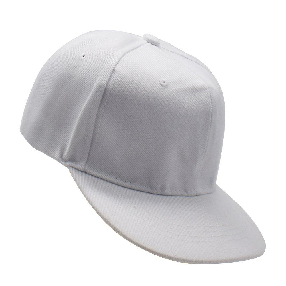 Baseball Caps Adjustable Flat Edge - OKEER Unisex Pure Color Simple Hip-Hop Style Snapback Sport Hats(White) by O'Keer