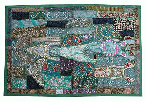 (Bhawana Handicrafts Green Indian Handmade Wall Tapestry Hand Embroidered Beads Work Wall Hanging Patchwork Table Cover Tribal Gypsy Antique Wall Decor Piece)