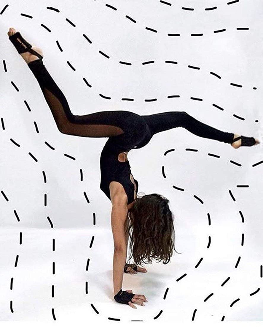 QIYUN.Z Las Mujeres Sin Mangas De Malla Negro Pantalones De Deporte Mosaico De Yoga Mono Sin Espalda