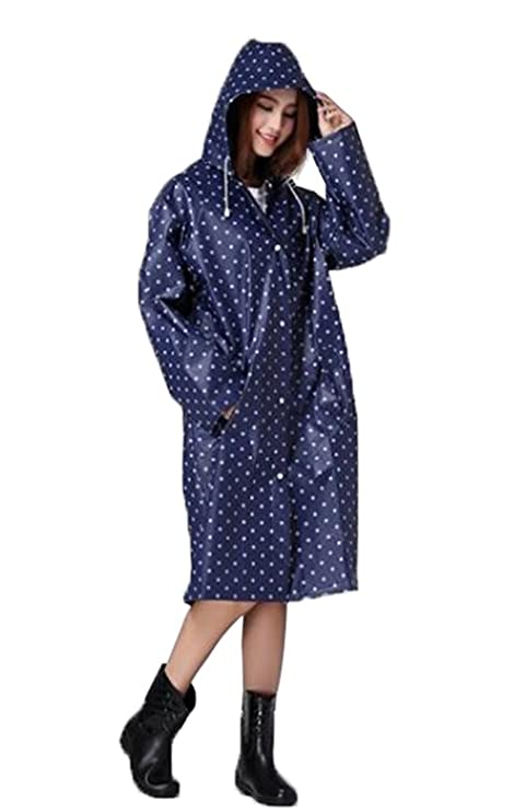 1950s Jackets, Coats, Bolero | Swing, Pin Up, Rockabilly Womens Polka Dots Raincoat Waterproof Hooded Rain Jacket Portable Rain Poncho with Button $19.89 AT vintagedancer.com