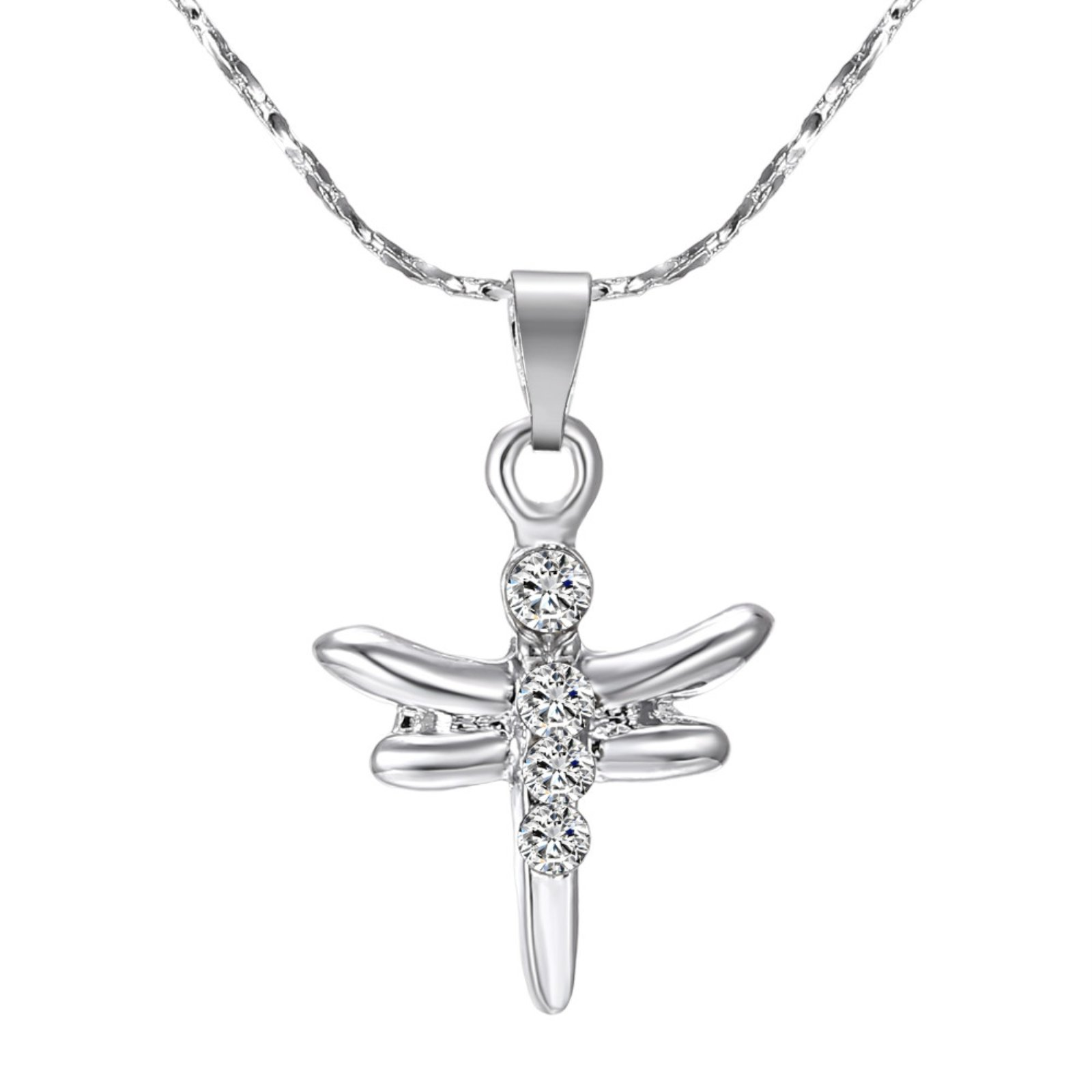 ptk12 Hot Sale Rhodium Plated Animal Dragonfly Pendants Necklaces with AAA Austrian Crystal