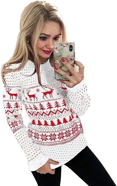 LANSKIRT Mujer Suéter Navidad Sudadera con Estampado Navideño ...