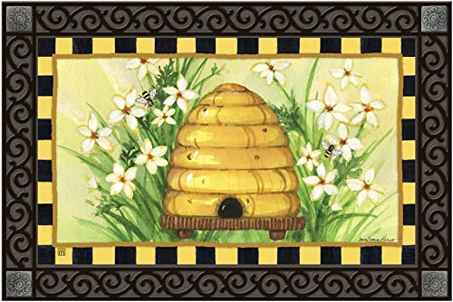 Studio M MatMates Bee Skep Spring Summer Decorative Floor Mat Indoor or Outdoor Doormat with Eco-Friendly Recycled Rubber Backing, 18 x 30 Inches