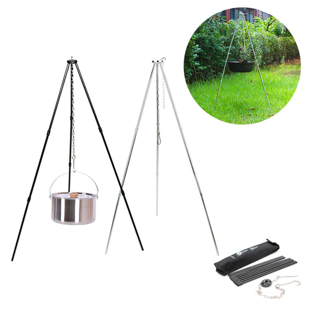 GESECRET Folding Campfire Tripod, Camping Tripod, Dutch Oven Tripod for Camping Backpacking Survival, with Adjustable Hang Chain and Bag