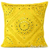Eyes of India - 16'' Yellow Mirror Embroidered Pillow Colorful Decorative Cushion Cover Throw Sofa Couch Boho Seating Bohemian Indian Cover ONLY