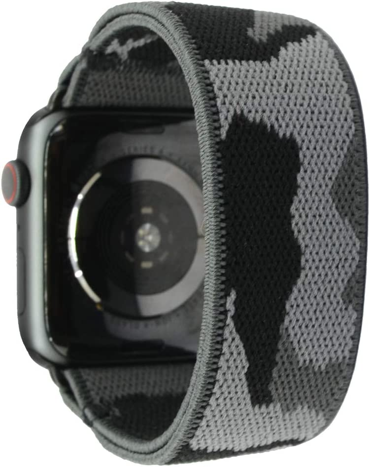 Nomchi Double Layer Stretch Elastic Compatible/Replacement Band for Apple Watch 38mm 40mm 42mm 44mm (Black Adapter for 42mm/44mm Camouflage, Wrist Size: 6.0-6.4 inch (M))