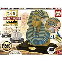 Educa Borrás - 3D Sculpture Puzzle Tutankhamon, Gold and Blue Edition (17335)
