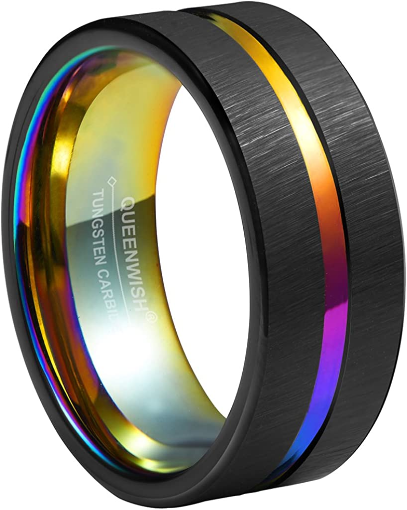 Queenwish 8mm Rainbow Black Brushed Tungsten Wedding Band Triton Gorgeous Center Grooved Couples Rings