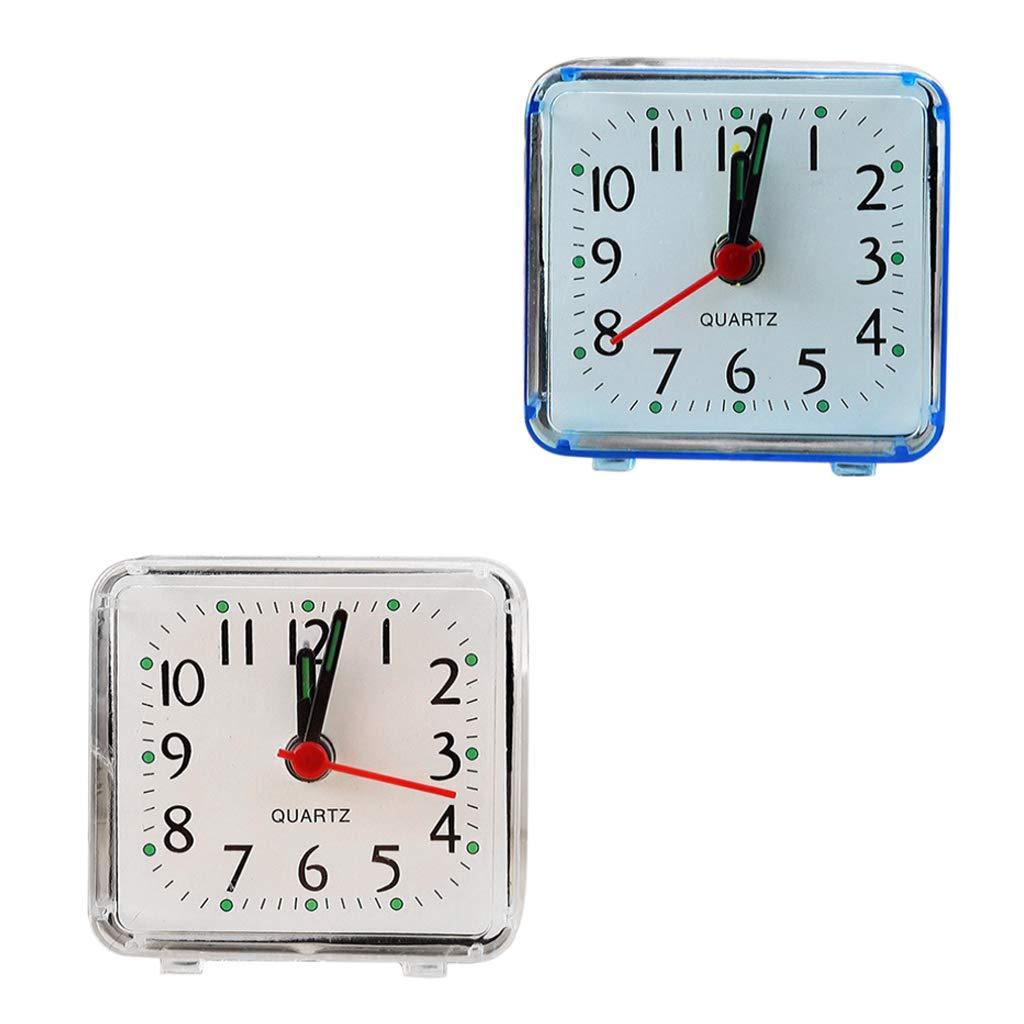Fenteer 2x Horloge Quartz Carré Voyage Réveil Chambre Maison Table