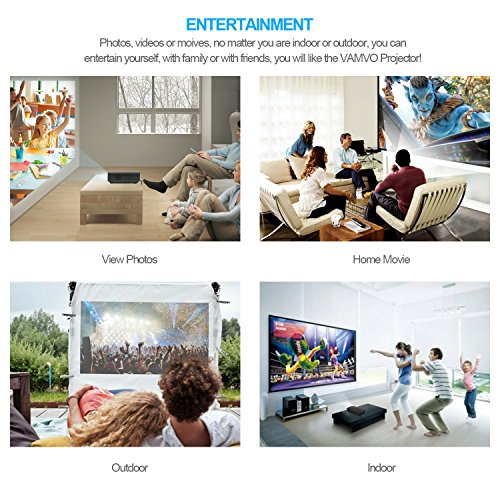 Vamvo LED Projector 1080P 1200 Lumens Portable for Indoor Outdoor, A mini Home Theater Movie Projector Support Laptop/Smartphone/iPad/TV by HDMI/VGA/SD/USB/AV Input Photo #7