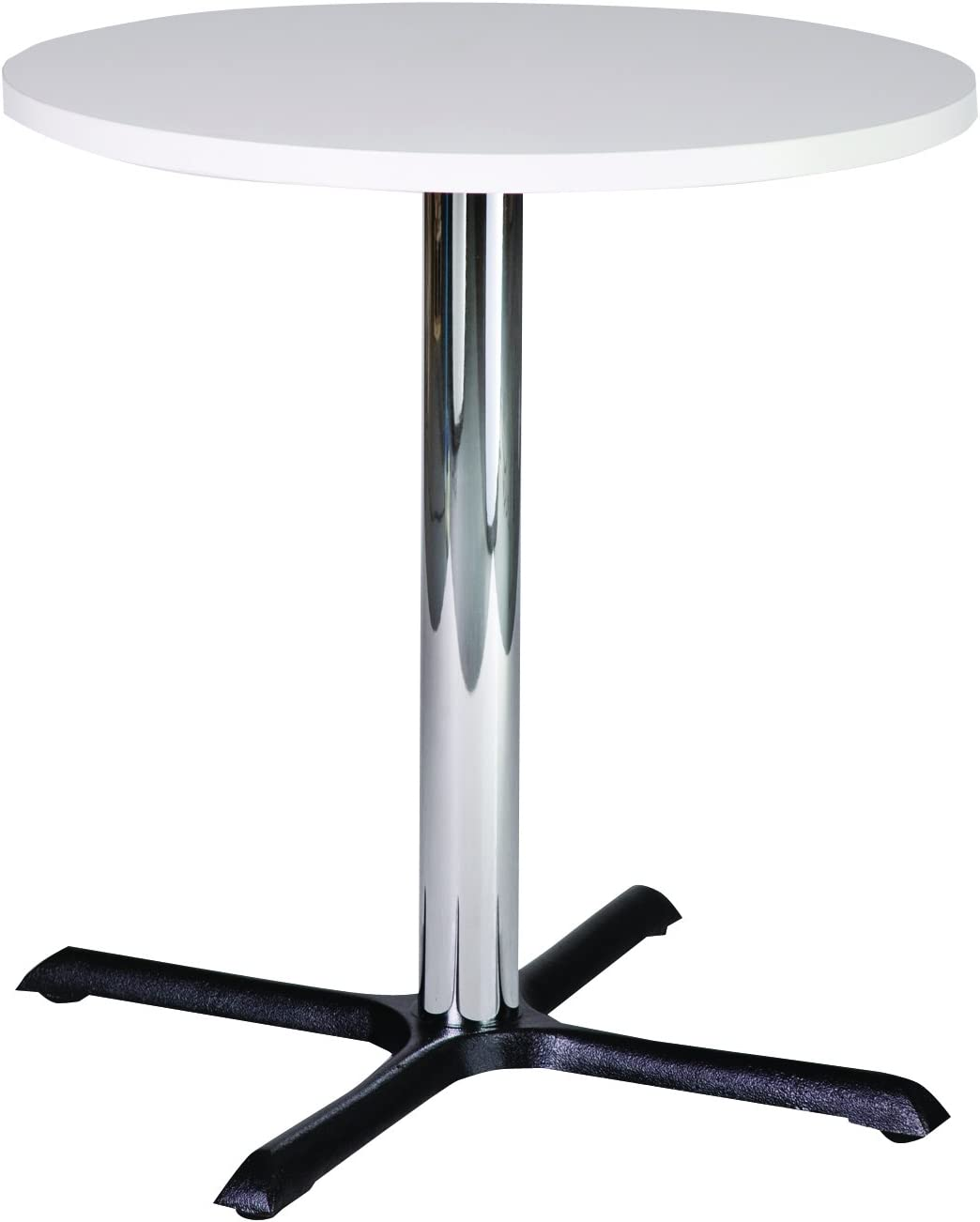 Small Solid Melamine White Circular Tables on Central Chrome Column