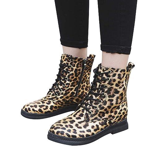 Botas Militares Planos para Mujer Invierno 2018 PAOLIAN Botas de caño Alto con Cordones Zapatos Señora