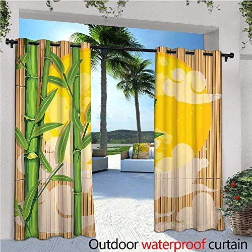 cobeDecor Asian Outdoor Blackout Curtains Bamboo Tree Branches Full Moon and Abstract Curvy Clouds Stars Eastern Outdoor Privacy Porch Curtains W72 x L84 Yellow Green Pale Brown ()