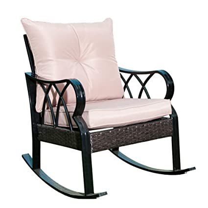 Perfect SunLife Indoor/Outside Rocking Lounge, Patio Rocker Glider Chair With Thick  Tan Cushion/