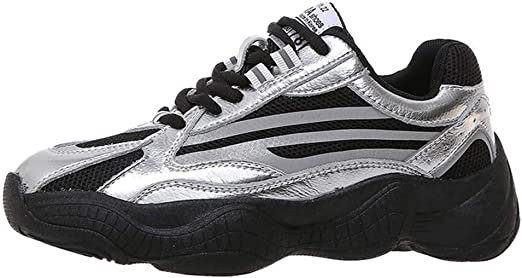 Zapatillas de Running de Carretera para Mujer Moda Deportiva Air Fitness Workout Gym Jogging Walking Shoes,Plata,36: Amazon.es: Jardín