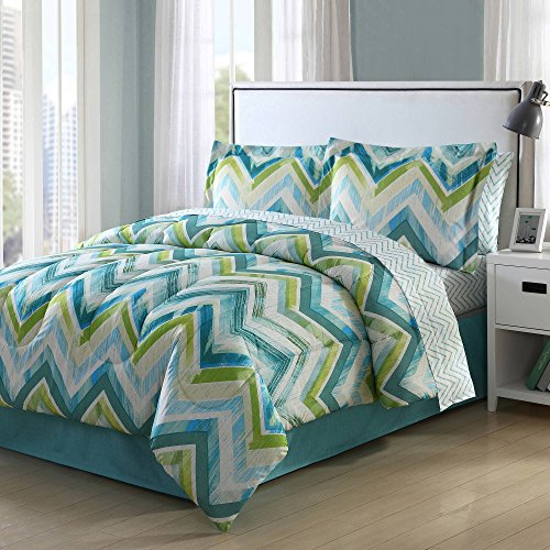 8 Piece Aqua Blue Lime Green Chevron Comforter King Set With Sheets, Light Blue White Zig Zag V Shaped Jagged Lines Pattern, Bold Line Horizontal Zigzag Design Adult Bedding Master Bedroom, Polyester