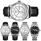BUREI Mens Casual Classic Automatic Watches with Roman numerals Date Calendar Mineral Lens Leather Band