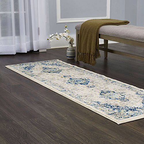 Home Dynamix Vintage Channing Area Rug | Trendy Style, Distressed Finish | Durable Polypropylene Area Rug | Ivory | Fade and Stain Resistant, Easy to Clean, 26