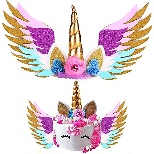 Unicorn Cake Topper & Sparkly Wing & Unicorn Cupcake Wrappers - LEMENSTART Unicorn Themed Party Favors Decorations for Unicorn Party Baby Shower Wedding Birthday Decorations by LEMENTSTAR (Image #1)