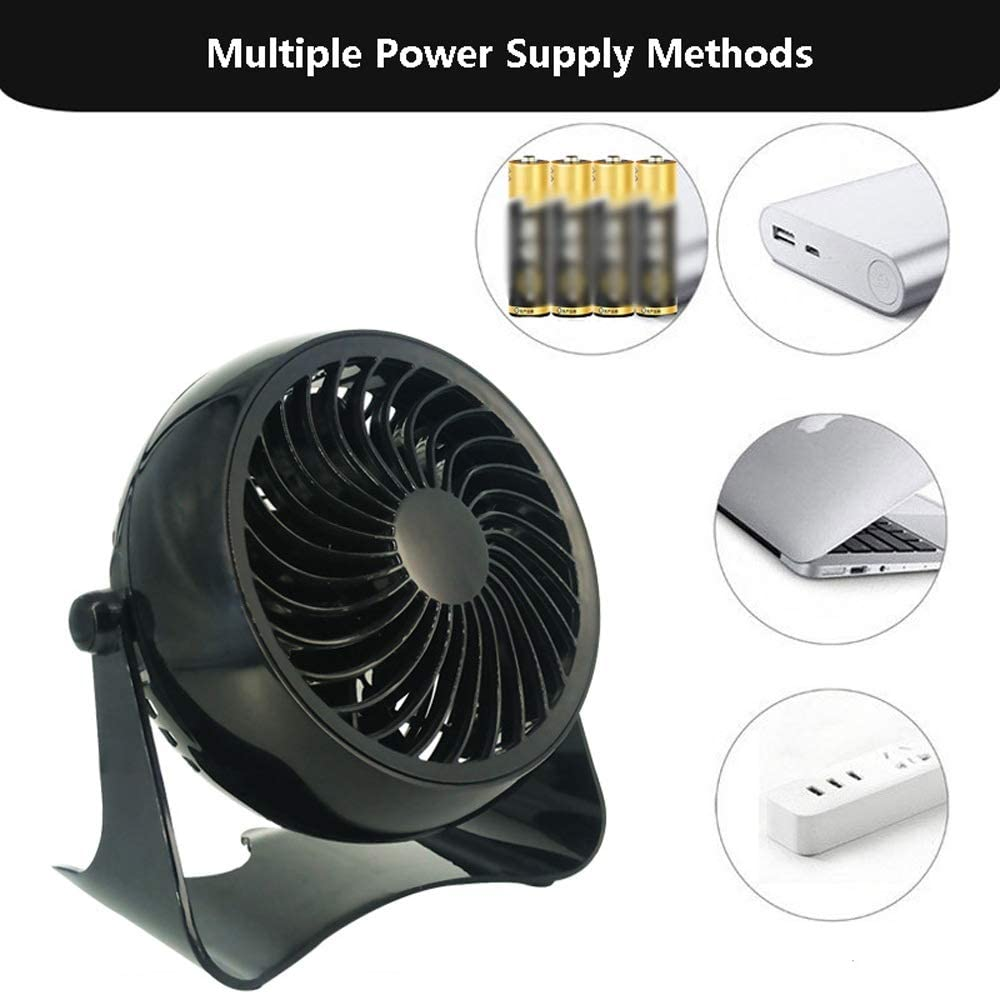 Mini USB Table Desk Personal Fan USB Desk Fan USB Powered Black Fan for Home Travel and Office Metal Design Quiet Operation USB Cable Fan Color : Black, Size : One-Size