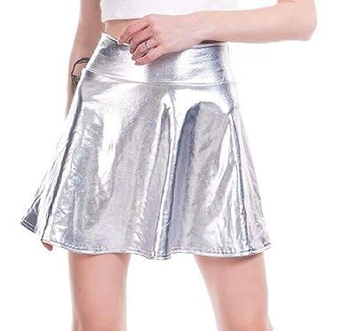 WNSY Mini Falda holográfica Brillante con Pliegues metálicos y ...