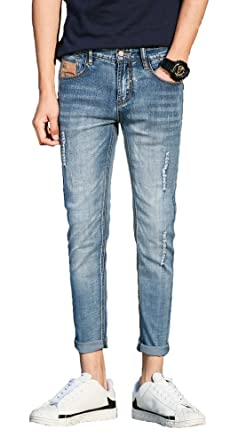8a758a8728a Plaid Plain Men s Distressed Skinny Jeans Ripped Jeans for Guys Cropped  Jeans 511Blue 27