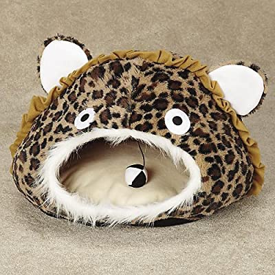 Meow Town ZW566016 Cat Cave Bed, Leopard Brown