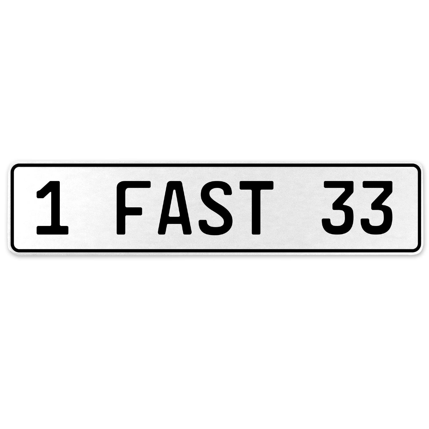Vintage Parts 557402 1 Fast 33 White Stamped Aluminum European License Plate