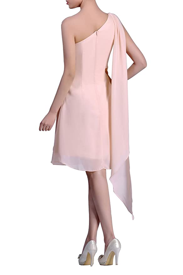 2d8472f83fa2 Adorona Chiffon Natrual Knee Length One Shoulder Homecoming Dresses: Amazon. co.uk: Clothing