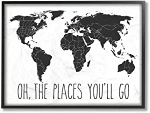 Stupell Industries White Map Oh The Places You'll Go Typography Black Framed Wall Art, 16 x 20, Design by Artist Lettered and Lined