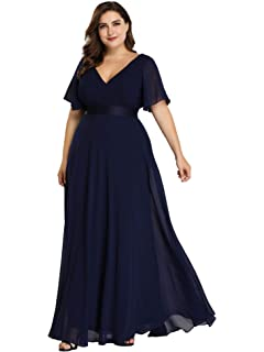 2a787dec520 Ever Pretty Women s Elegant Double V Neck A Line Empire Waist with Short  Sleeve Long Chiffon