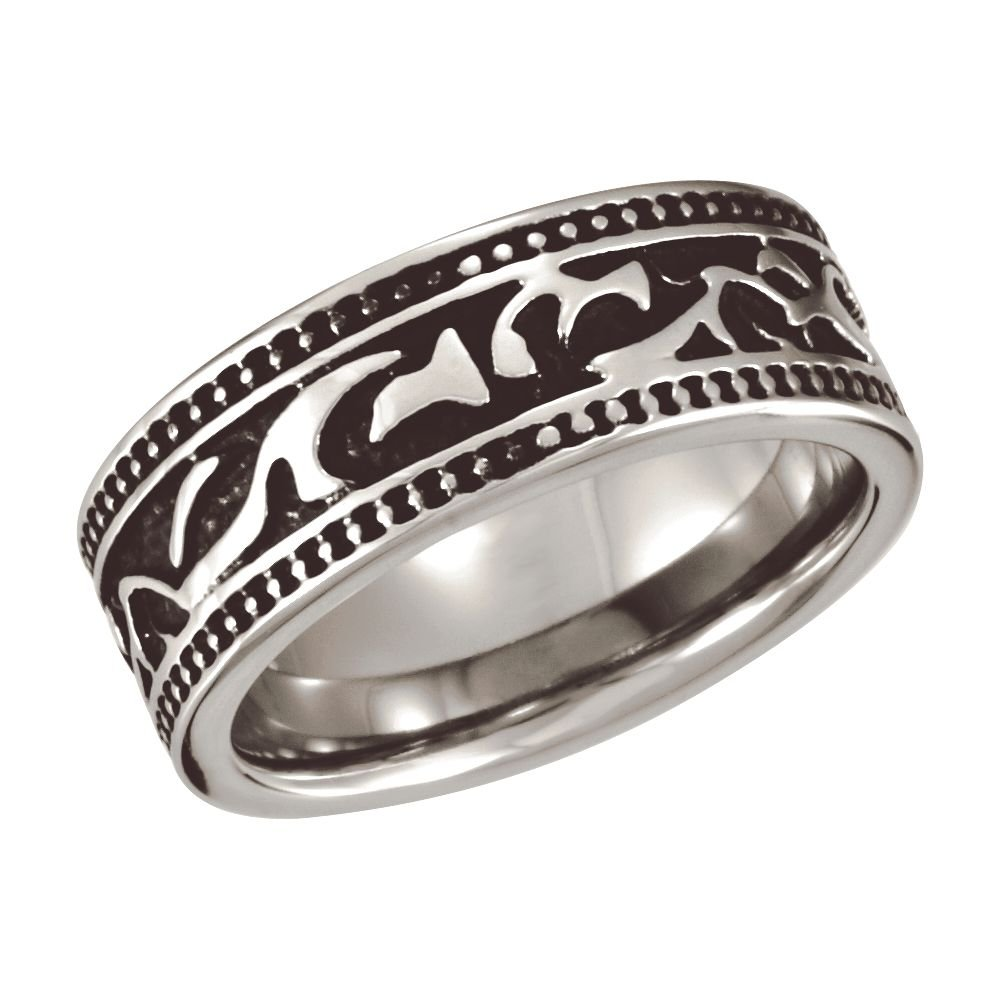 Ring Size 11.5 Security Jewelers Cobalt 8.5mm Black PVD Design Band