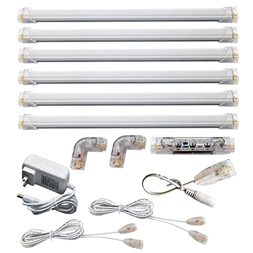 led under cabinet lights warm white 3000k 6 panel kit dimmable total of 24w 24v dc 2400lm bosanlight amazoncom cabinet lighting 6