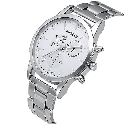 Kinlene Reloj para hombre-Reloj analógico de cuarzo correa de acero inoxidable, color plateado (Blanco): Amazon.es: Relojes
