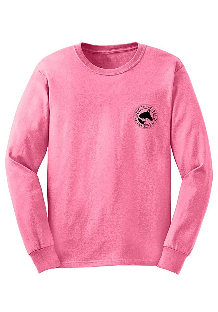 TurnipTruckDesigns Equestrian Prep Collection Youth Tall Dark /& Handsome Equestrian Long Sleeve T-Shirt Crunchberry