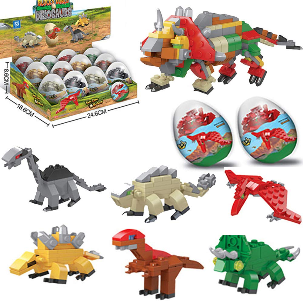 LGUIY Dinosaur Toys, 12 Mini Dinosaur Eggs Building Blocks Toys 6 in 1 Educational Toys Christmas Birthday Present Dinosaurs Theme Party Favors & Party Supplies Gifts Set for Kids Boys Girls (12pcs)