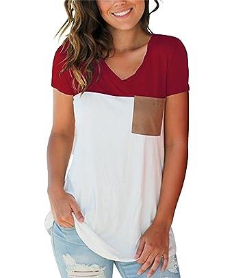 The Aron ONE Damen T-Shirts Sommer Basic V-Ausschnitt Farbblock Casual  Kurzarm Oberteil c115b7cf68
